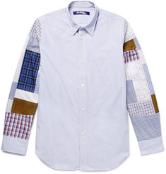 Junya Watanabe Slim-Fit Patchwork Striped Cotton-Poplin Shirt