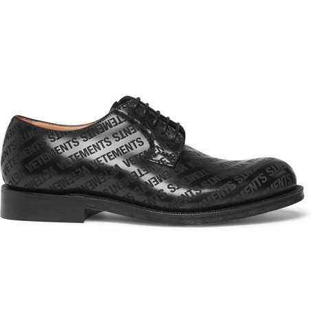 Vetements + Church's Logo-embossed Leather Derby Shoes In Black