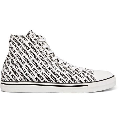Printed Canvas High-top Sneakers - BlackVETEMENTS vaV1FVX94
