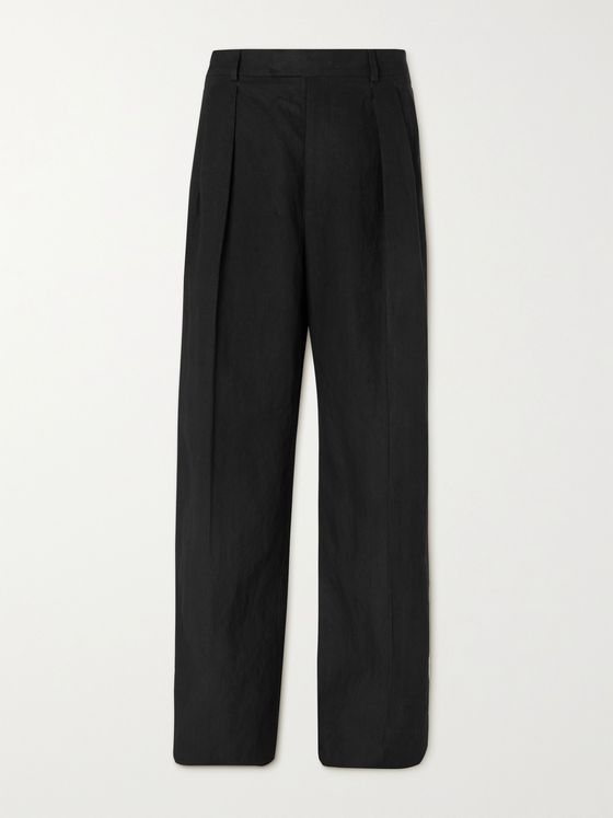 VALENTINO Wide-Leg Pleated Woven Trousers