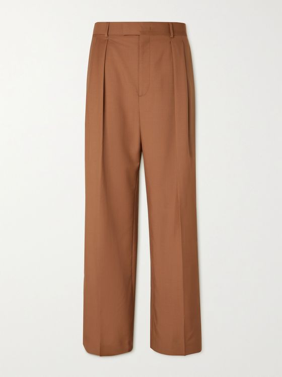 VALENTINO Wide-Leg Striped Wool and Mohair-Blend Trousers