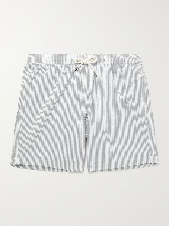 MR P. Mid-Length Striped Cotton-Blend Seersucker Swim Shorts