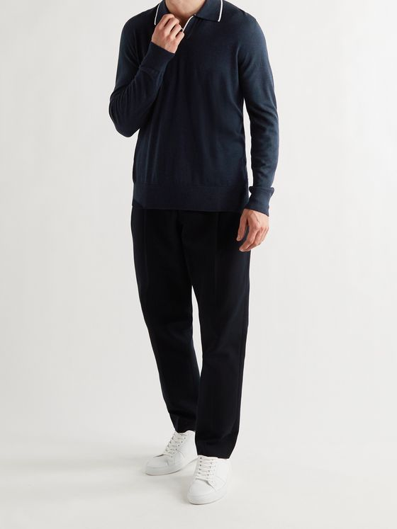 MR P. Contrast-Tipped Cashmere and Silk-Blend Polo Shirt