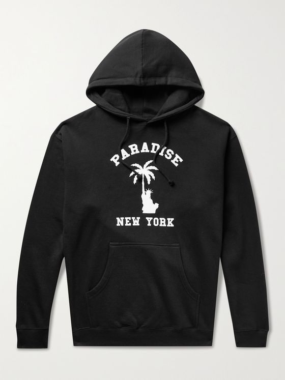 PARADISE Liberty Palm Printed Fleece-Back Cotton-Blend Jersey Hoodie