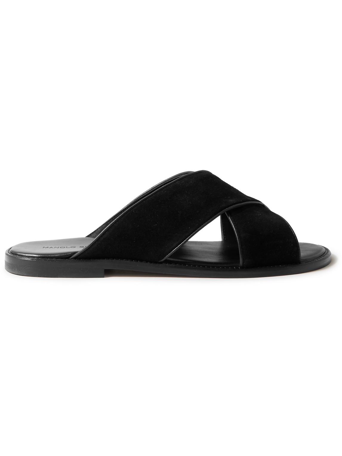 Manolo Blahnik Otawi Leather-trimmed Suede Sandals In Black