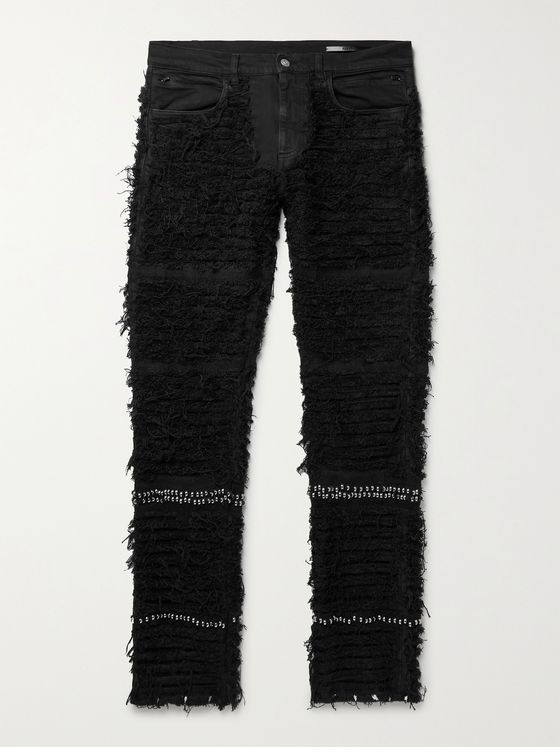 1017 ALYX 9SM + Blackmeans Embellished Distressed Stretch-Denim Jeans
