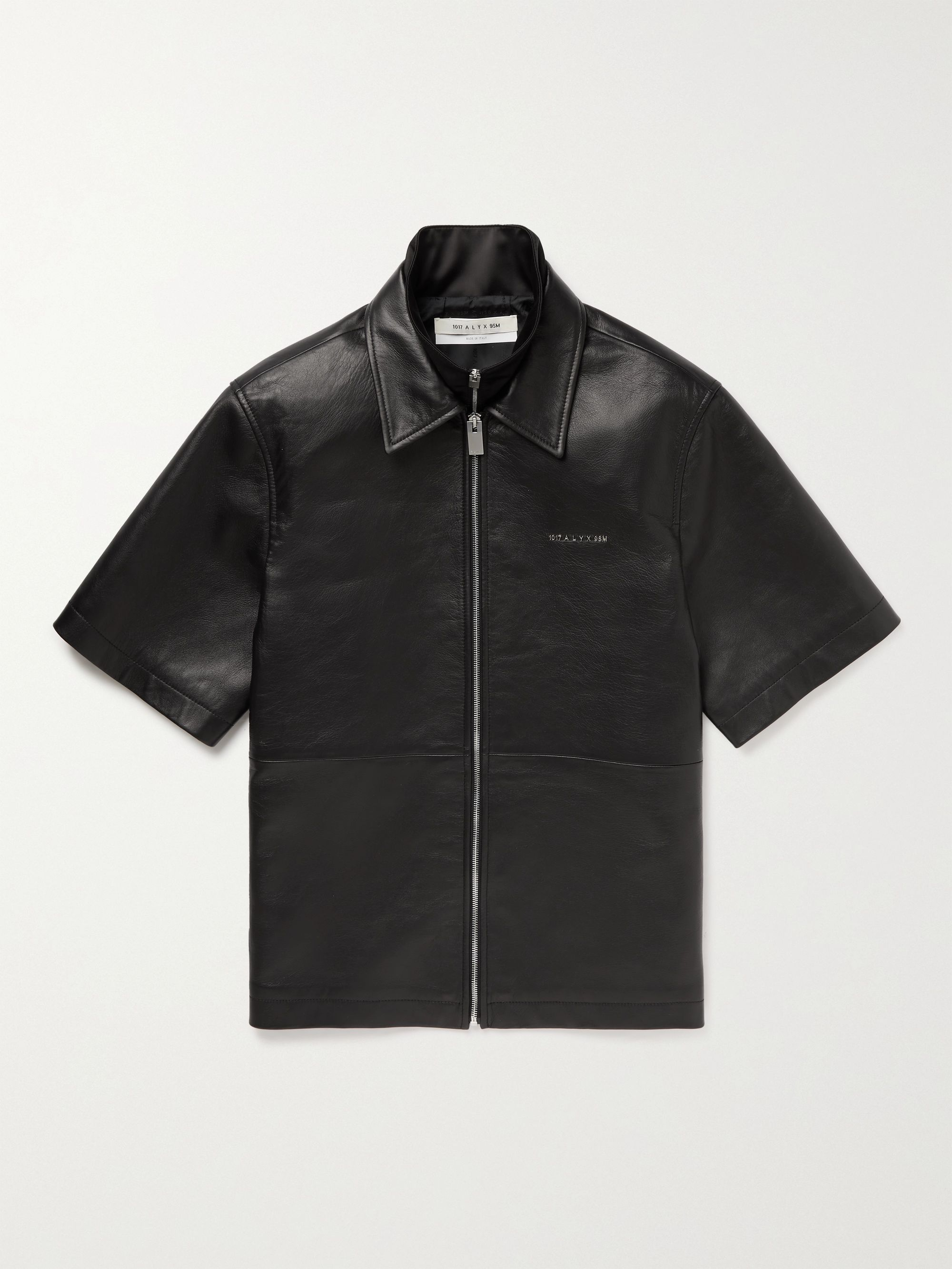 1017 ALYX 9SM Layered Leather and Satin Zip-Up Shirt,Black
