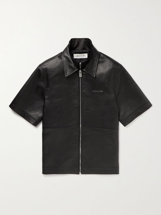 1017 ALYX 9SM Layered Leather and Satin Zip-Up Shirt