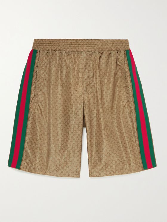GUCCI Wide-Leg Webbing-Trimmed Monogrammed Shell Shorts