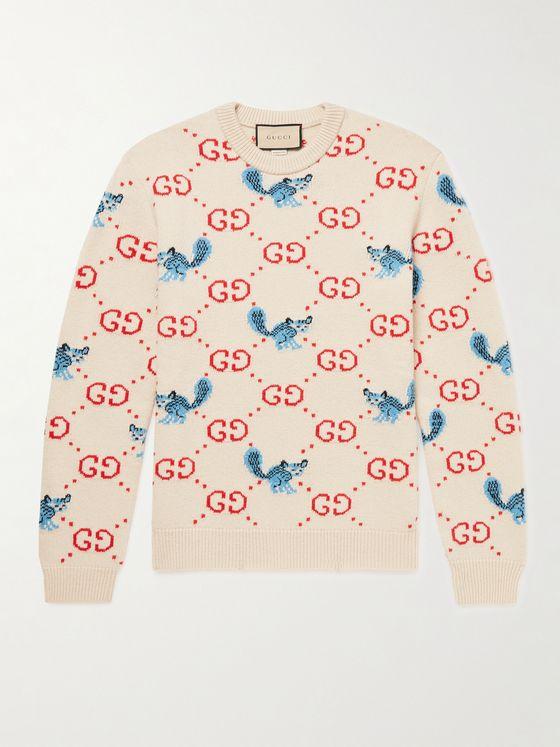GUCCI Logo-Jacquard Wool Sweater