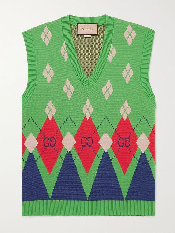 GUCCI Slim-Fit Argyle-Jacquard Cotton Sweater Vest