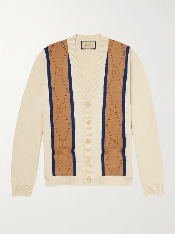 GUCCI Striped Pointelle Cotton Cardigan