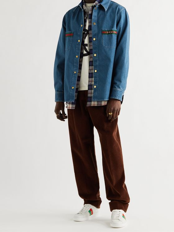 GUCCI Horsebit Webbing-Trimmed Denim Shirt