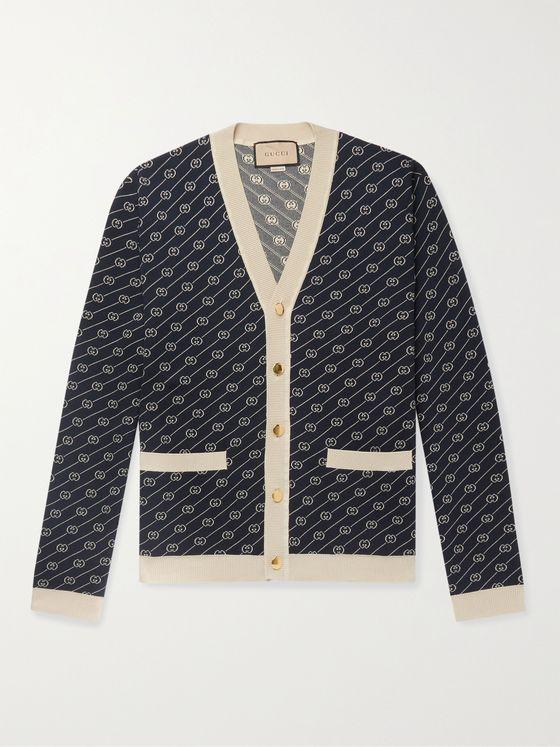 GUCCI Slim-Fit Logo-Jacquard Cotton and Silk-Blend Cardigan