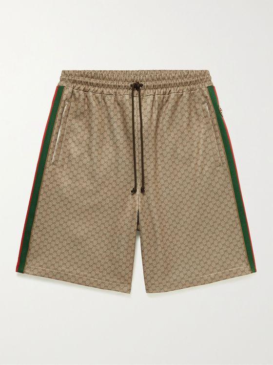 GUCCI Wide-Leg Striped Logo-Jacquard Drawstring Shorts