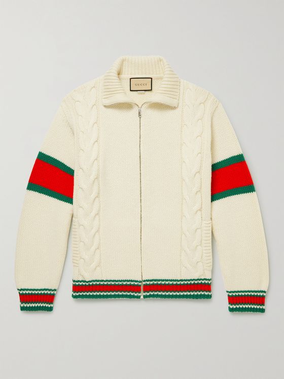 GUCCI Striped Cable-Knit Wool Zip-Up Cardigan