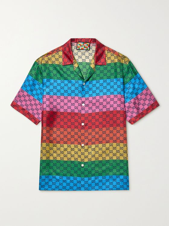 GUCCI Oversized Camp-Collar Striped Logo-Print Silk-Twill Shirt