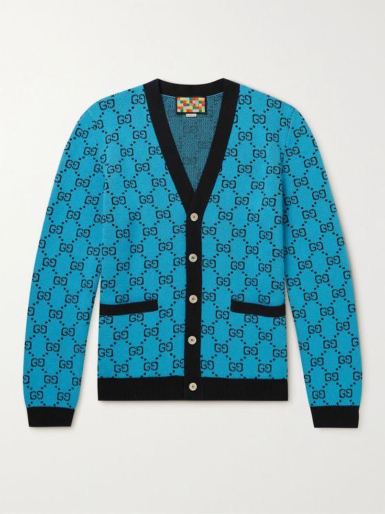 GUCCI Logo-Jacquard Wool and Cotton-Blend Cardigan