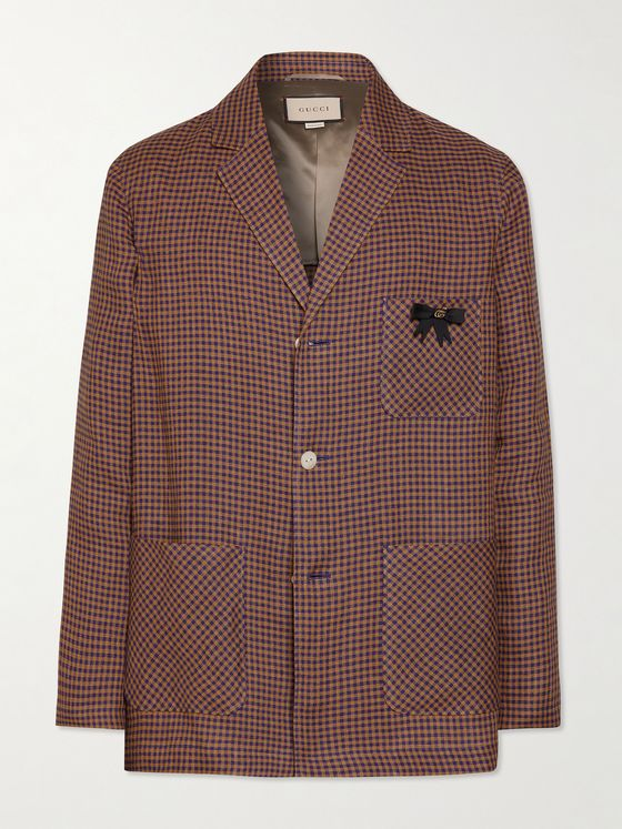 GUCCI Embellished Checked Linen Blazer