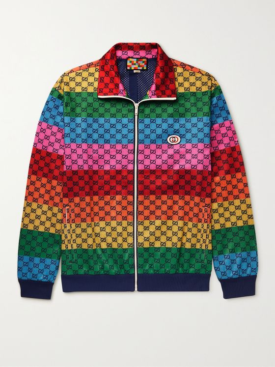 GUCCI Striped Logo-Print Tech-Jersey Track Jacket