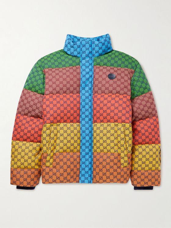 GUCCI Striped Logo-Jacquard Cotton-Blend Canvas Down Jacket