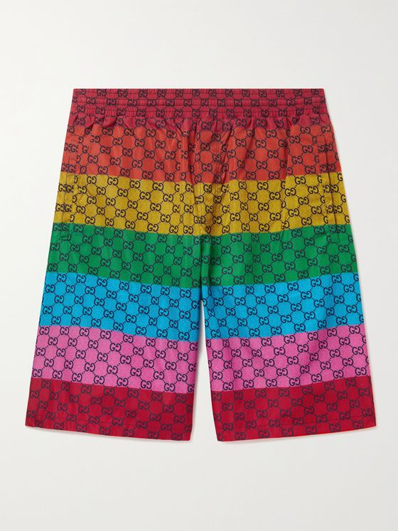 GUCCI Mid-Length Striped Monogrammed Swim Shorts