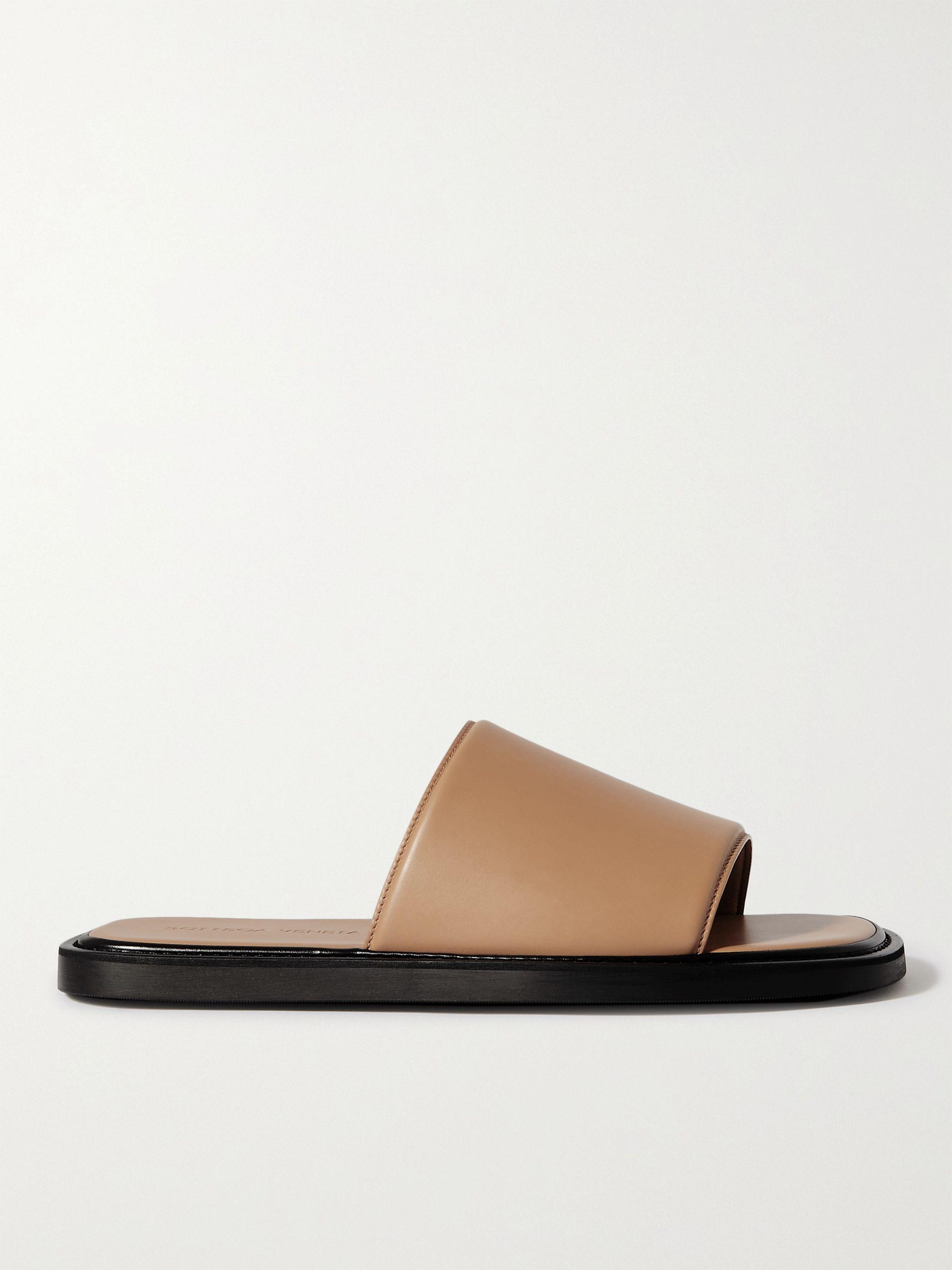 보테가 베네타 Bottega Veneta Leather Slides,Camel