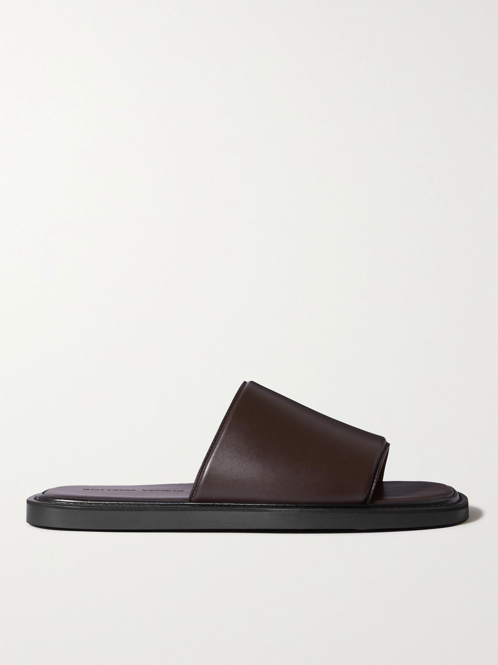 보테가 베네타 Bottega Veneta Leather Slides,Dark brown