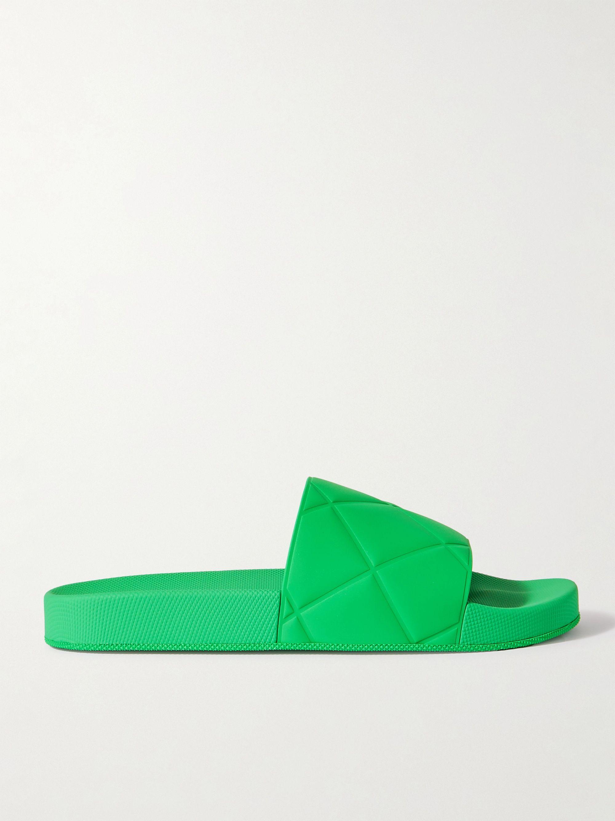 보테가 베네타 Bottega Veneta Intrecciato Rubber Slides,Green