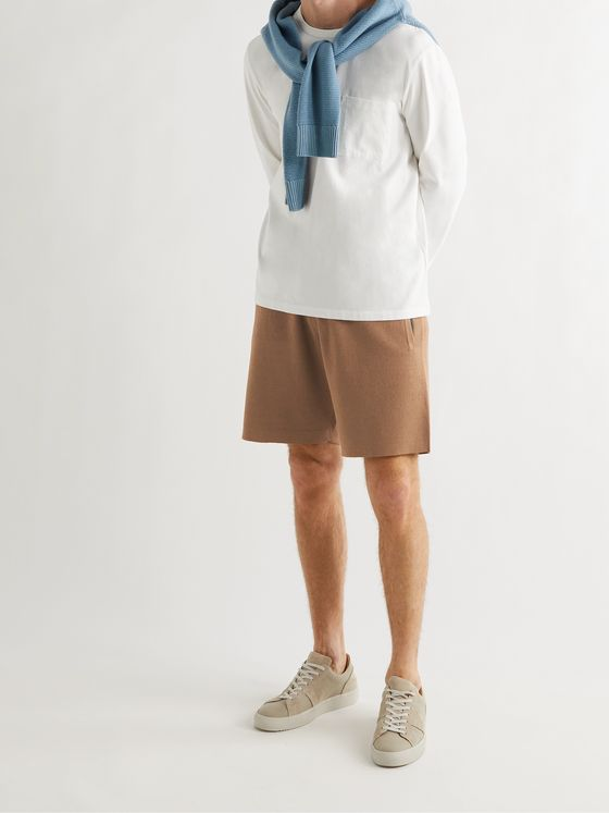 MR P. Knitted Mulberry Silk and Organic Cotton-Blend Drawstring Shorts