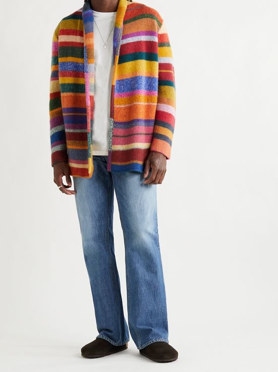THE ELDER STATESMAN Shawl-Collar Striped Cashmere Cardigan