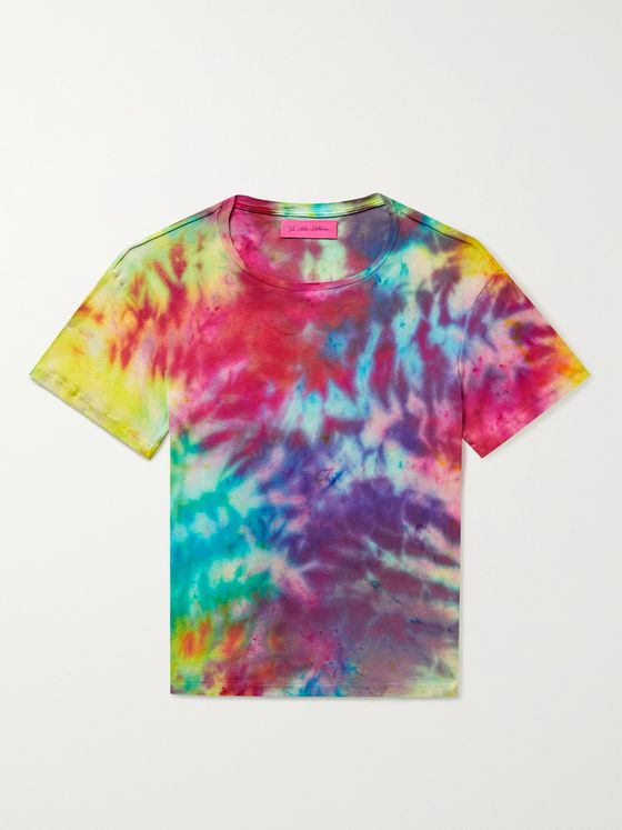 THE ELDER STATESMAN Paper Rainbow Tie-Dyed Cotton and Cashmere-Blend T-Shirt