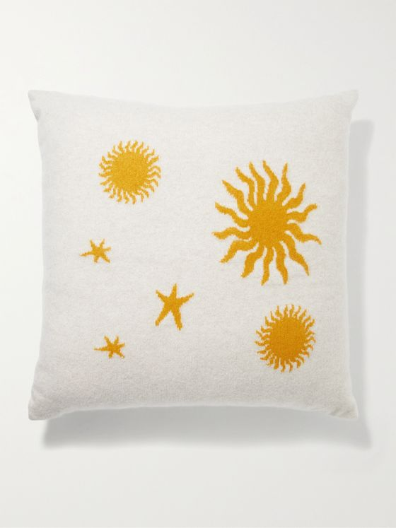 THE ELDER STATESMAN Starry Night Intarsia Cashmere Cushion