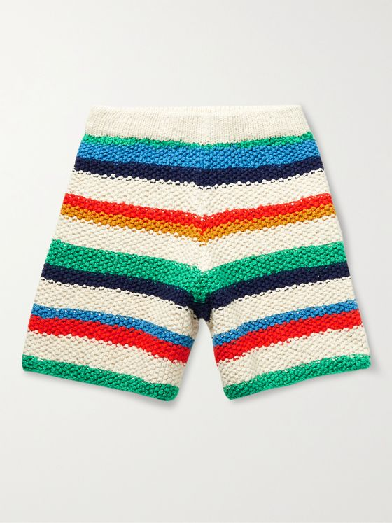 THE ELDER STATESMAN Striped Knitted Organic Cotton Shorts