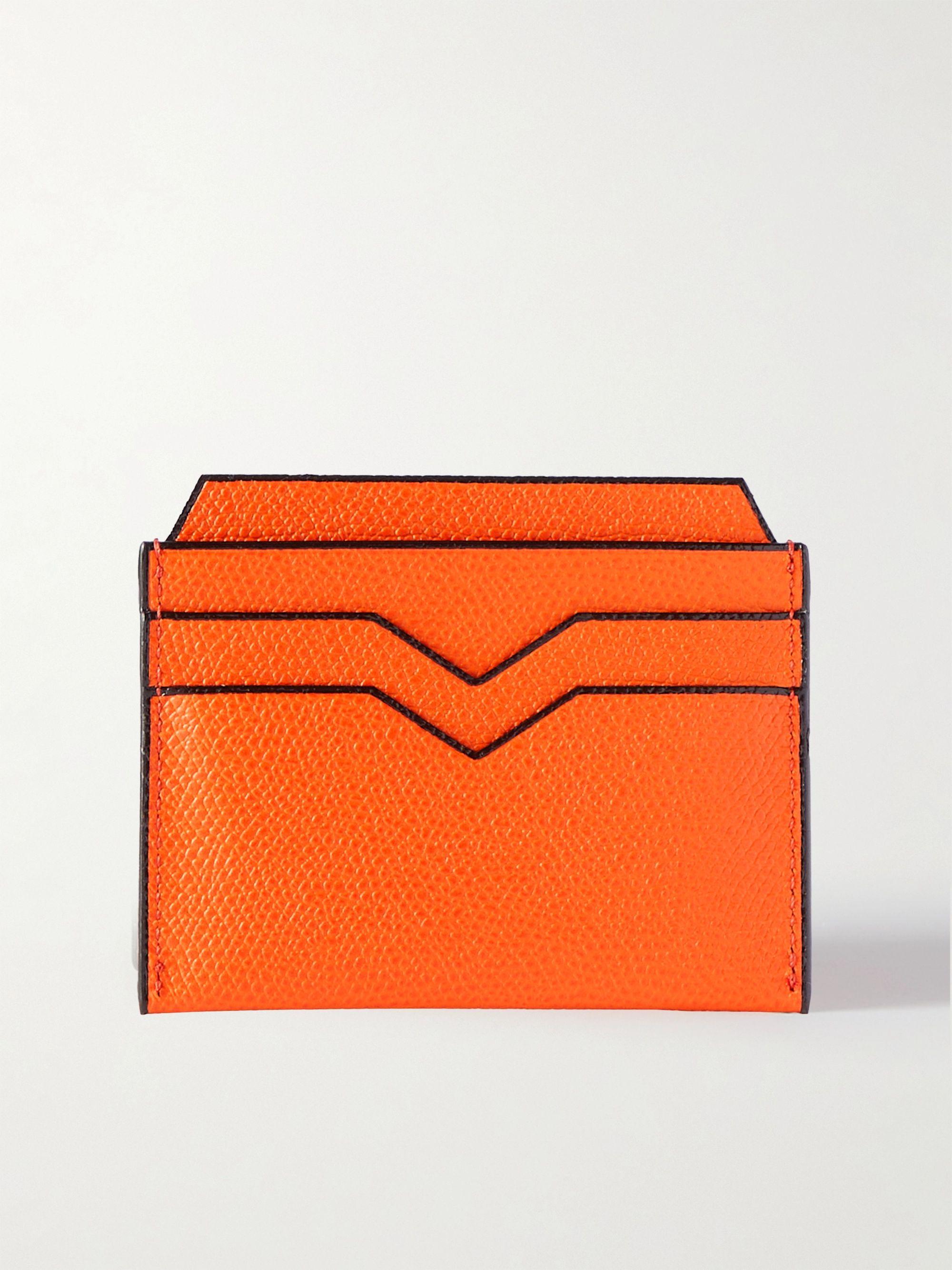 발렉스트라 카드 지갑 VALEXTRA Pebble-Grain Leather Cardholder,Orange