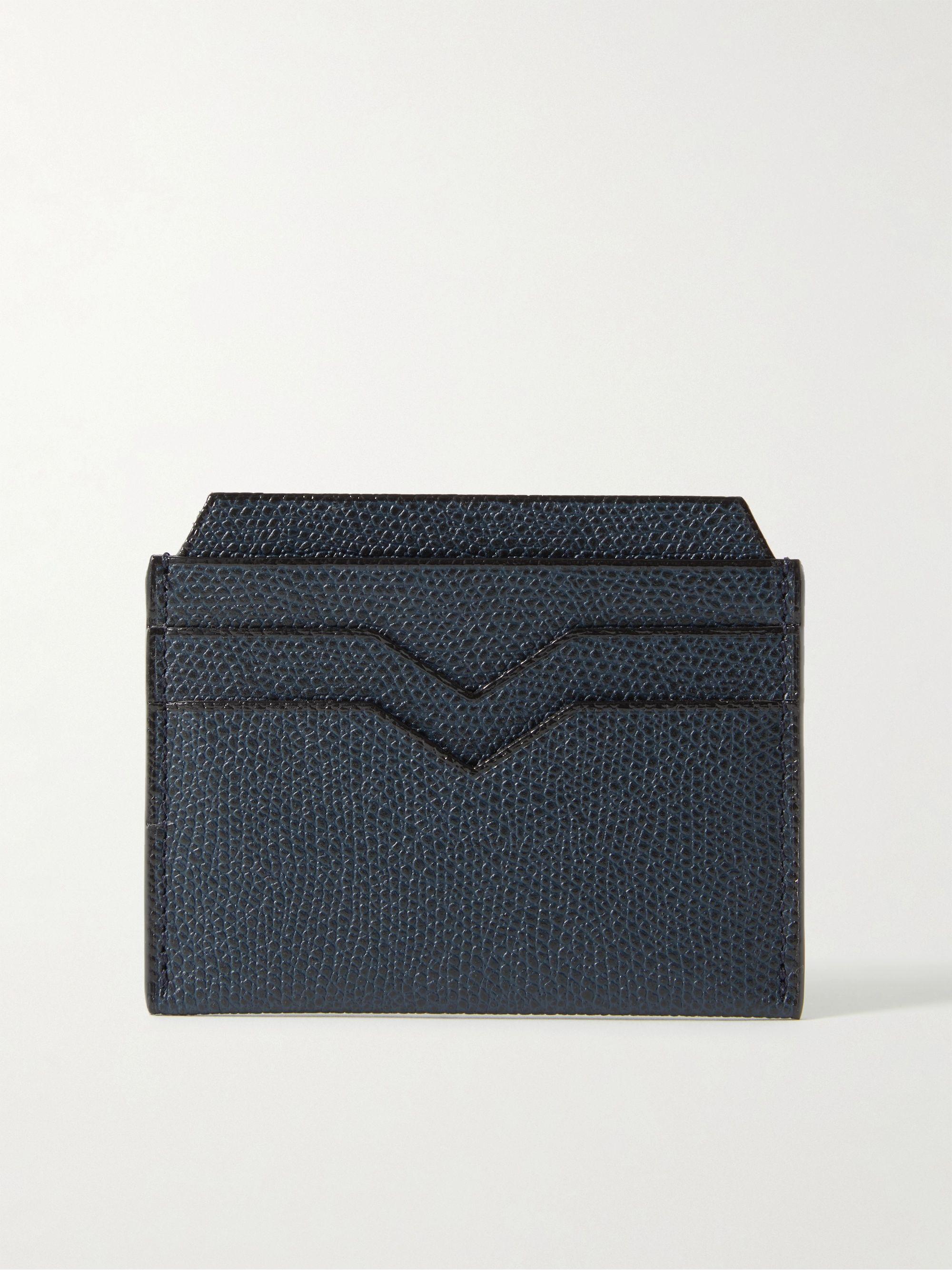 발렉스트라 카드 지갑 VALEXTRA Pebble-Grain Leather Cardholder,Navy