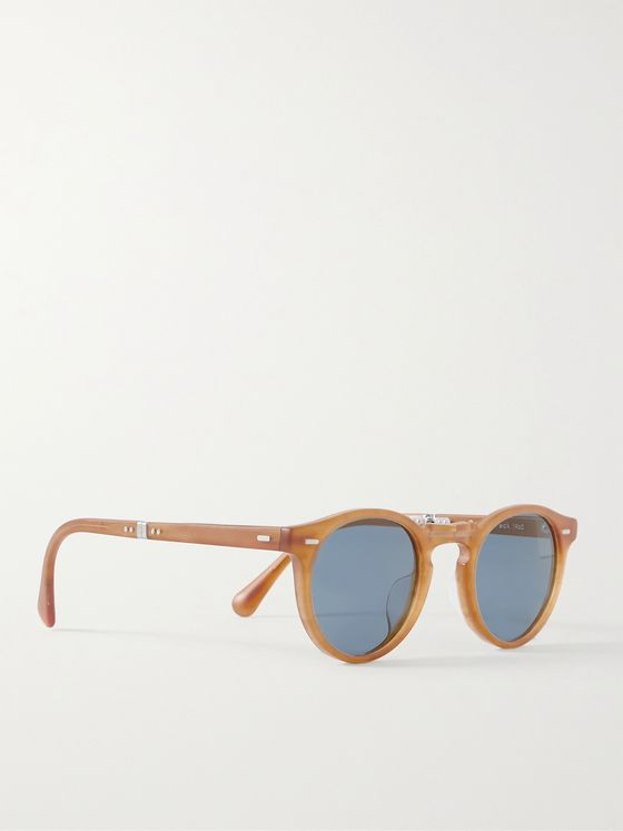 OLIVER PEOPLES Gregory Peck Round-Frame Acetate Folding Sunglasses
