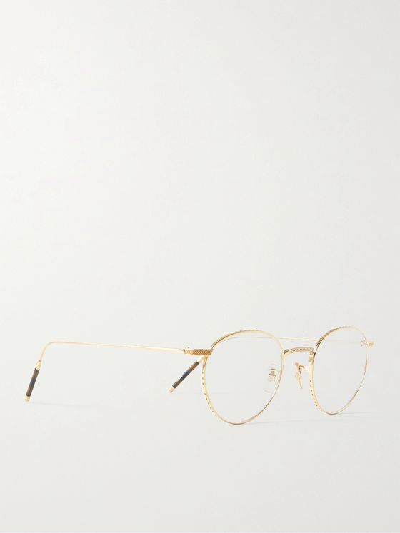 OLIVER PEOPLES TK-1 Round-Frame Gold-Tone Optical Glasses