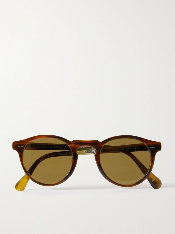 OLIVER PEOPLES Gregory Peck Round-Frame Tortoiseshell Acetate Polarised Folding Sunglasses