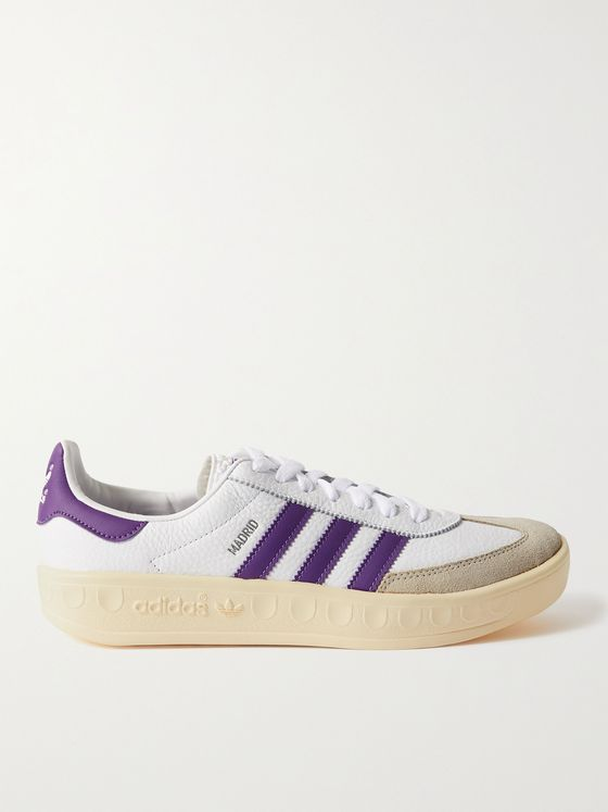 ADIDAS ORIGINALS Madrid Suede-Trimmed Full-Grain Leather Sneakers