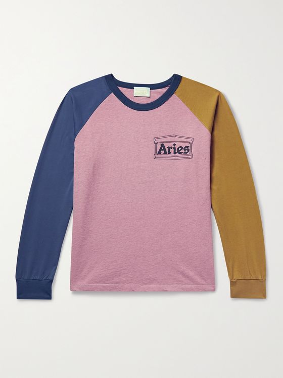 ARIES Logo-Print Colour-Block Cotton-Jersey T-Shirt