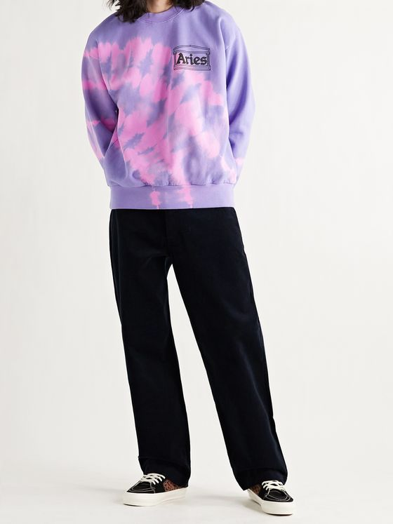 ARIES Logo-Print Tie-Dyed Fleece-Back Cotton-Jersey Sweatshirt