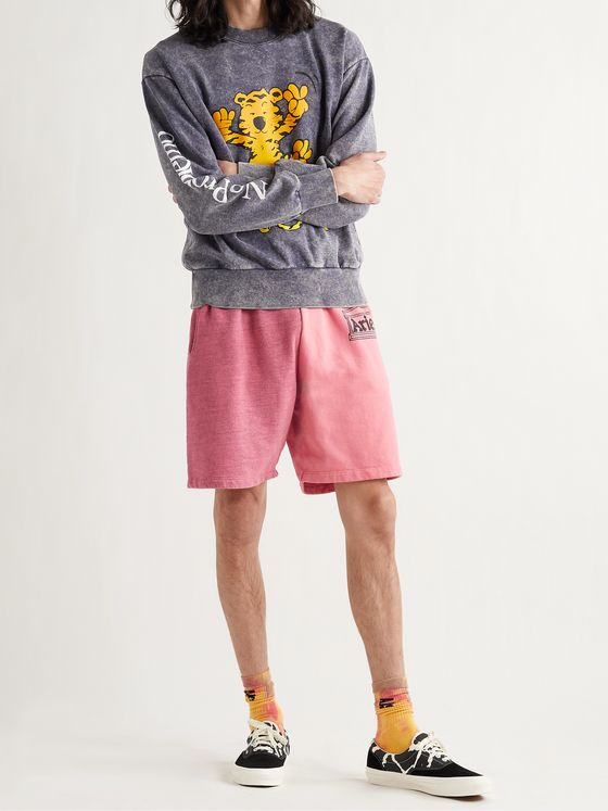 ARIES Panelled Logo-Print Fleece-Back Cotton-Jersey Shorts