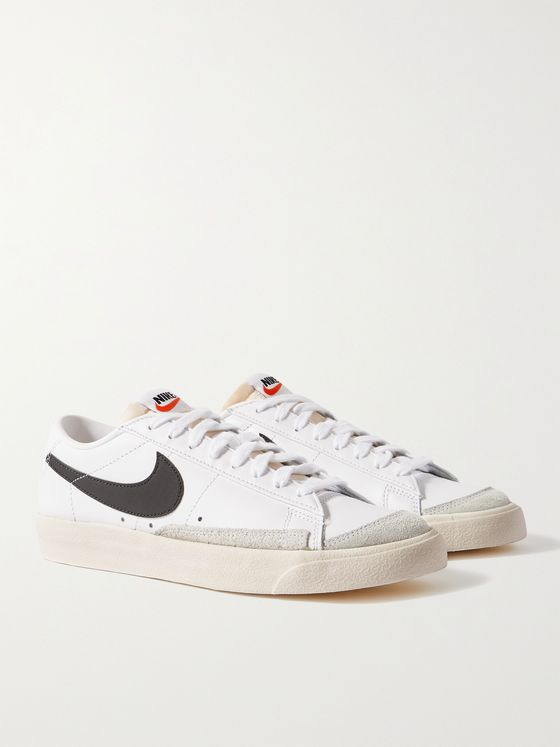 NIKE Blazer Low '77 Suede-Trimmed Leather Sneakers
