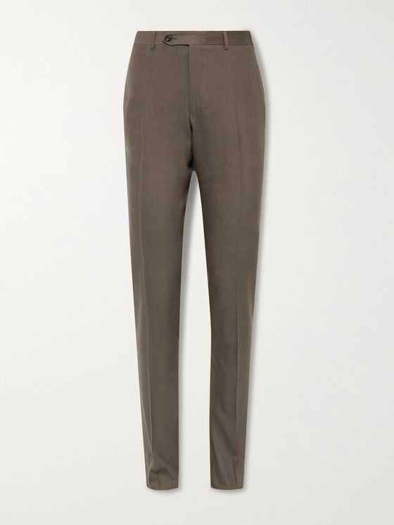 CANALI Kei Slim-Fit Tapered Linen and Wool-Blend Suit Trousers