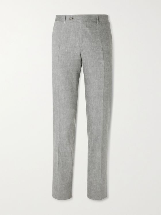 CANALI Linen and Wool-Blend Suit Trousers