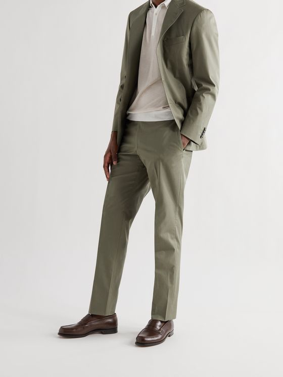CANALI Kei Slim-Fit Tapered Stretch-Cotton Twill Suit Trousers