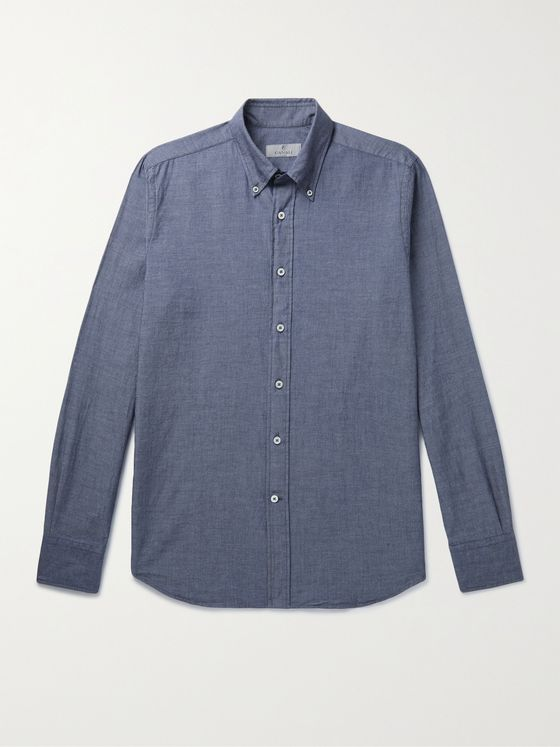 CANALI Slim-Fit Button-Down Collar Cotton-Chambray Shirt