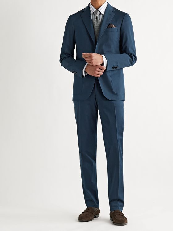 CANALI Kei Slim-Fit Tapered Cotton-Blend Twill Suit Trousers