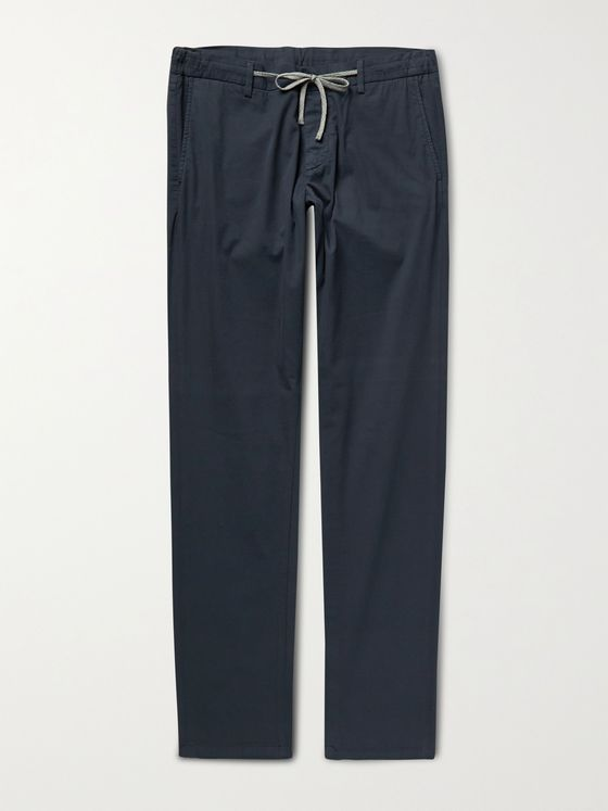 CANALI Slim-Fit Cotton-Blend Drawstring Trousers